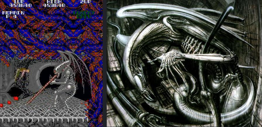 Super Contra Stage 4 Boss vs. H.R. Giger's winged xenomorph